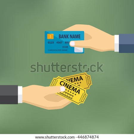 Ecommerce vector flat illustration. Hand with credit card and hand with cinema tickets.