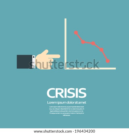 Economic crisis concept vector illustration with line chart and space for your text. Eps10 vector illustration - stock vector
