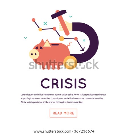 Economic crisis, falling of a stock market, crisis business, prices reduction. Piggy bank. Flat design isolated vector illustration. Flat design isolated vector illustration. - stock vector
