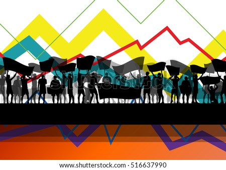 Economic crisis line chart with protesting people  banners and signs in abstract vector background illustration