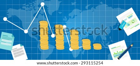 economic financial down crisis recession gdp drop - stock vector