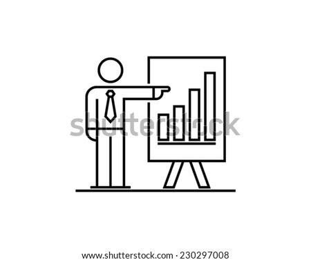 economic growth businessman presentation analyst manager auditor economist accountant ceo stick figure pictogram vector icon - stock vector