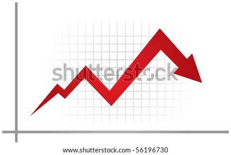 Economic recession illustration with graph and grid - stock vector