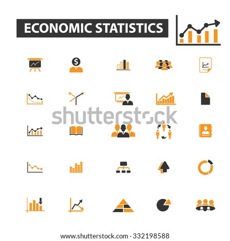 economic statistics icon & sign concept vector set for infographics, website - stock vector