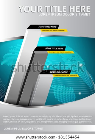 Economic vector background with graph and continents. Can be used for brochure, poster, flyer and other prints. - stock vector