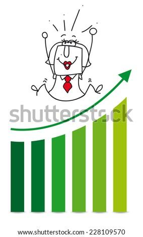 Economic victory with Karen. Karen is very happy,she has reached her goals - stock vector