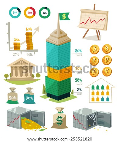 Economics and finance. Infographic elements. Vector illustration. - stock vector