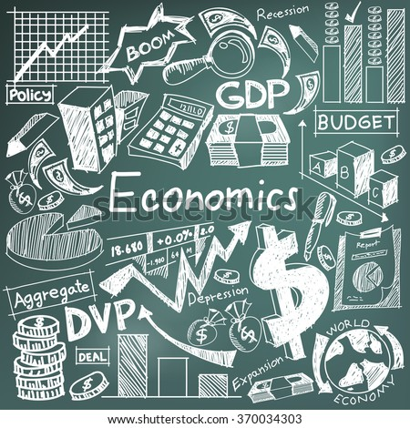 Economics and financial education handwriting doodle icon of banknote, money currency, investment profit graph, and cost analysis sign symbol in blackboard background for presentation title (vector)