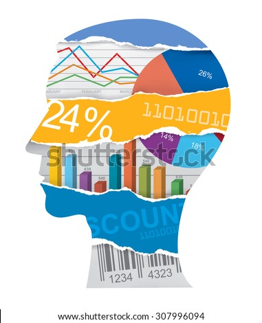 Economist sales manager head silhouette. Male head silhouette with charts and numbers symbolizing economy. Vector available.  - stock vector