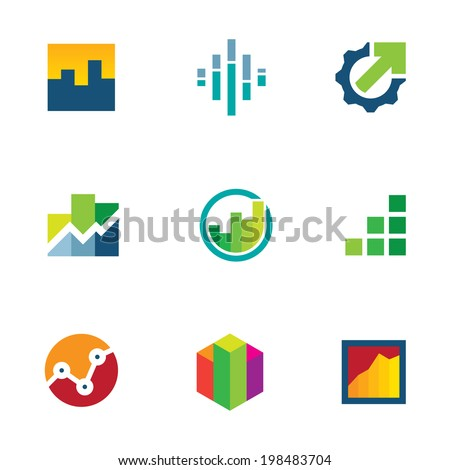 Economy finance chart bar business productivity logo icon set - stock vector