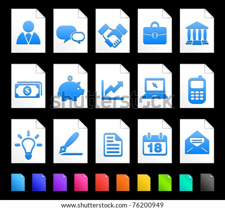 Economy Icon on Document Icon Collection Original Illustration - stock vector