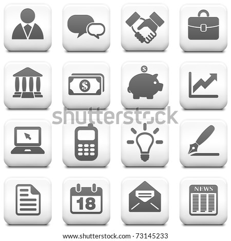 Economy Icon on Square Black and White Button Collection Original Illustration - stock vector