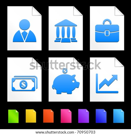 Economy Icons on Colorful Paper Document Collection Original Illustration - stock vector