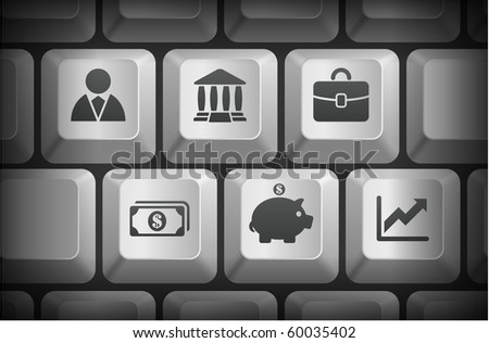 Economy Icons on Computer Keyboard Buttons Original Illustration - stock vector