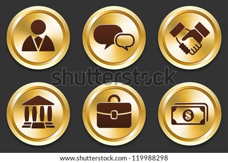 Economy Icons on Gold Button Collection Original Illustration - stock vector