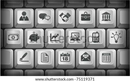 Economy Icons on Gray Computer Keyboard Buttons Original Illustration - stock vector