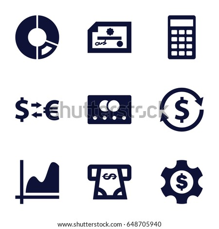 Economy icons set. set of 9 economy filled icons such as credit card, atm money withdraw, calculator, dollar gear, graph, money exchange, pie chart