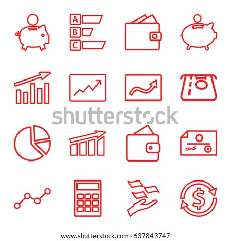 Economy icons set. set of 16 economy outline icons such as wallet, atm money withdraw, money on hand, line graph, piggy bank, calculator, pie chart, money exchange, check