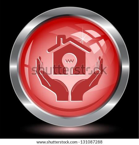 economy in hands. Internet button. Vector illustration. - stock vector