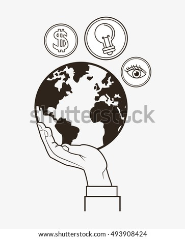 economy related icons line design image