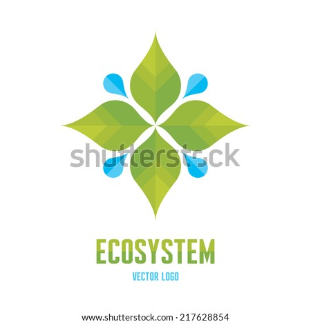 Ecosystem Concept Illustration - Abstract Vector Logo Sign Template. Leafs and drops illustration. Organic product logo. Design element.  - stock vector