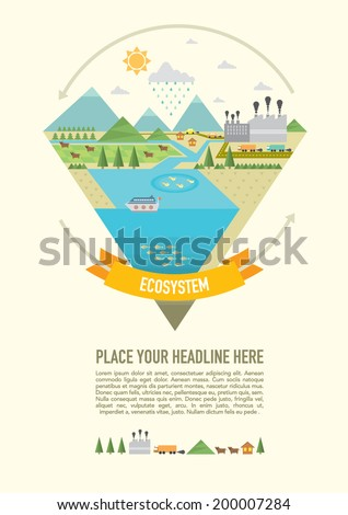 Ecosystem Info graphic icon set diagram chart/ ecology design elements - stock vector