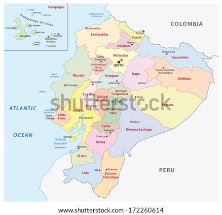 ecuador administrative map - stock vector