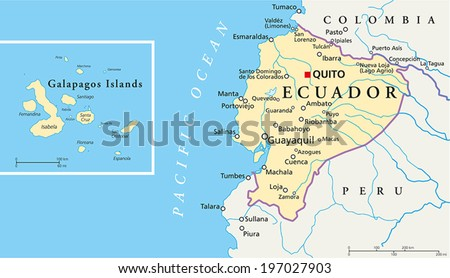 Ecuador galapagos islands political map capital stock vector ecuador and galapagos islands political map with capital quito with national borders most important gumiabroncs Choice Image