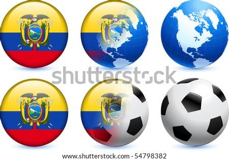 Ecuador Flag Button with Global Soccer Event Original Illustration - stock vector