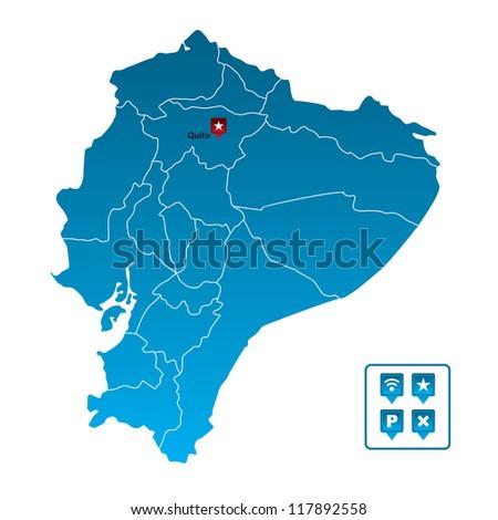 Ecuador Vector Ecuador Map Stock Vector