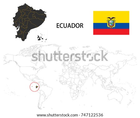 Ecuador Map On World Map Flag Stock Vector 747122536 Shutterstock