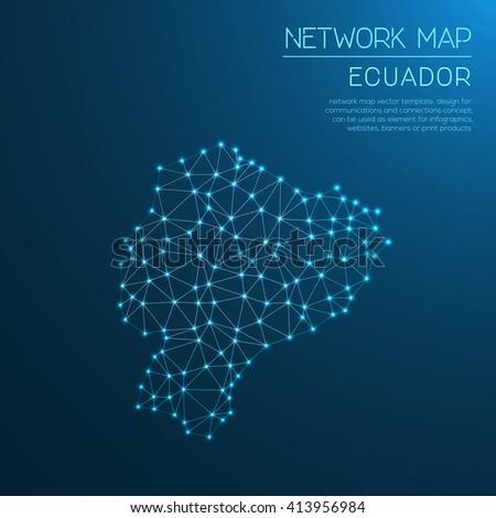 Ecuador network map. Abstract polygonal Ecuador network map design with glowing dots and lines. Map of Ecuador networks. Vector illustration. - stock vector