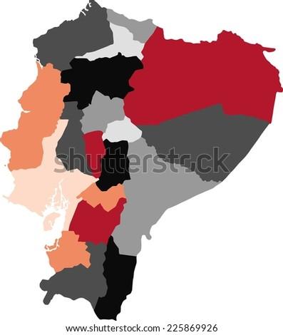 Ecuador Political Map Pastel Colors Stock Vector 225869926
