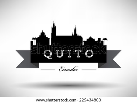 Ecuador Skyline with Typographic Design