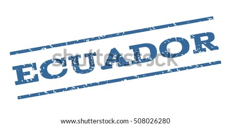 Ecuador watermark stamp. Text caption between parallel lines with grunge design style. Rubber seal stamp with dirty texture. Vector cobalt blue color ink imprint on a white background.