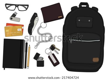 EDC set. Every day carry man items collection: glasses, usb, wallet, backpack, credit card, keys, moleskine, pencil, pen, lighter, pocket knife - stock vector