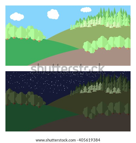 Edge of the Forest.  Day and Night. - stock vector