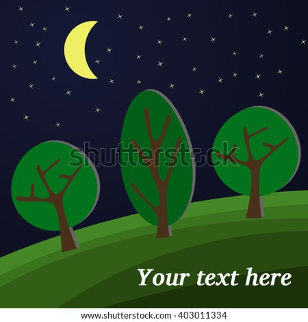 Edge of the Forest. The Moon Lights on a Clearing in the Forest.  - stock vector