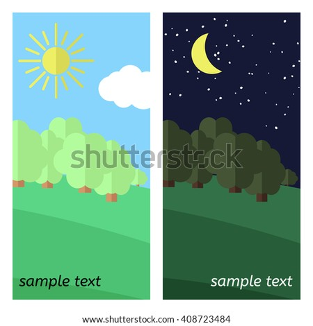 Edge of the Forest. The Sun Shines and The Moon Lights on a Clearing in the Forest. - stock vector