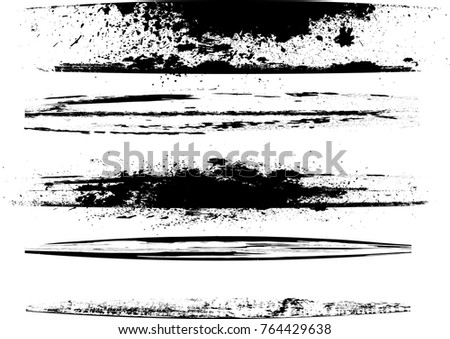 Edges Vector Set . Design Elements . Curved Grunge Borders , Dividers or Brush Strokes . Black bulge lines . stripes with  grunge effects