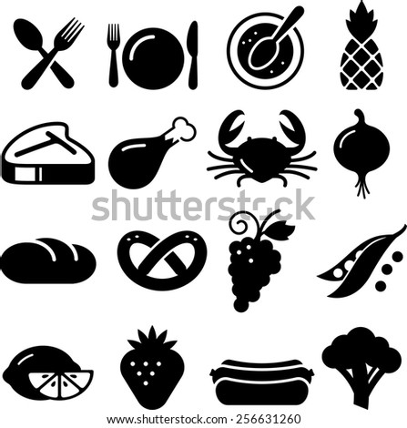 Edible food and restaurant icons. Vector icons for digital and print projects. - stock vector