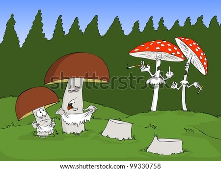 Edible mushrooms poisonous like trying to camouflage - stock vector
