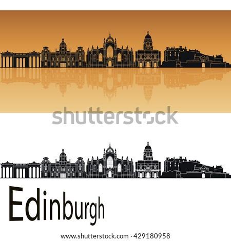 Edinburgh skyline in orange background in editable vector file - stock vector