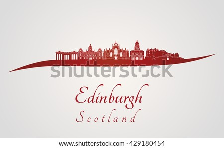 Edinburgh skyline in red and gray background in editable vector file