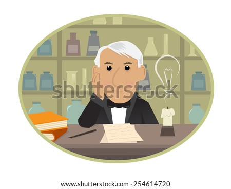 Edison - Cartoon Thomas Edison is sitting behind his desk and getting innovative ideas. Eps10 - stock vector