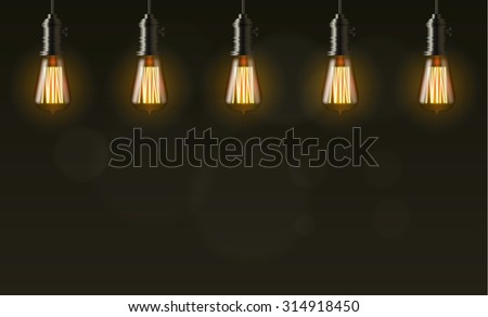 Edison light bulb on dark vector background with copy space - stock vector