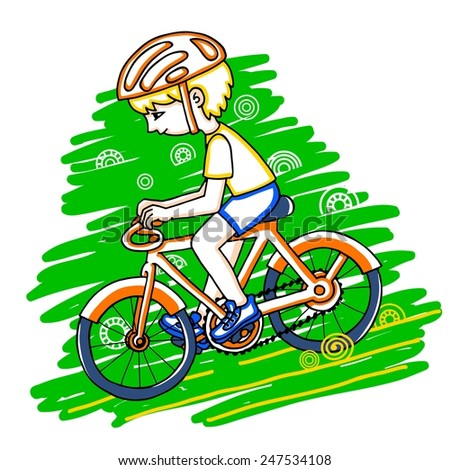 Edit boy on a bicycle color vector drawing. Healthy lifestyle background. - stock vector