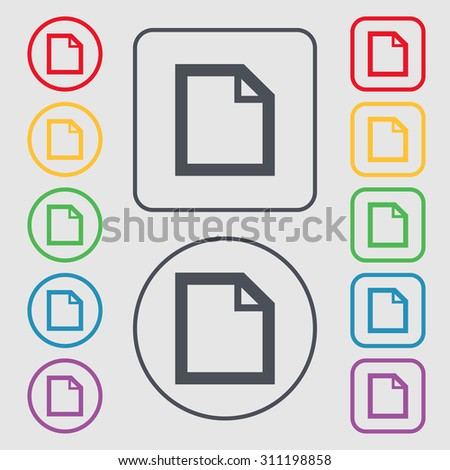 Edit document sign icon. content button. Symbols on the Round and square buttons with frame. Vector illustration - stock vector