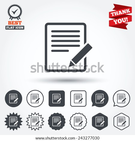 Edit document sign icon. Edit content button. Circle, star, speech bubble and square buttons. Award medal with check mark. Thank you ribbon. Vector - stock vector