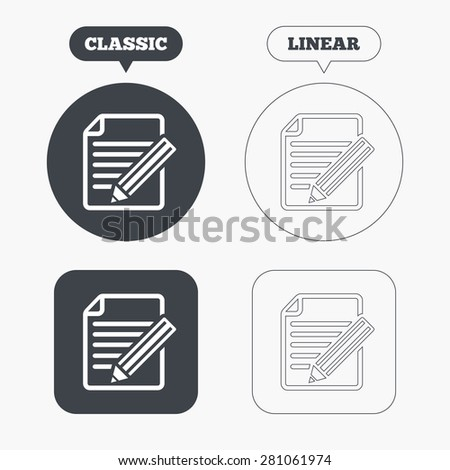 Edit document sign icon. Edit content button. Classic and line web buttons. Circles and squares. Vector - stock vector